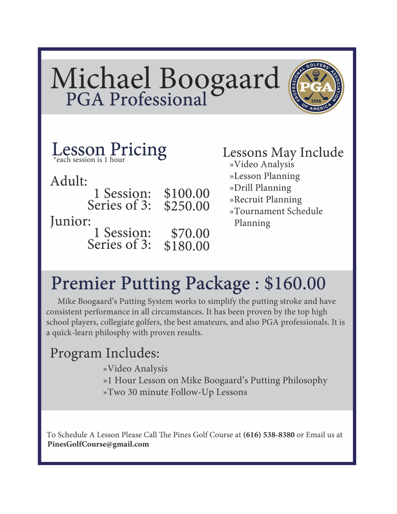 Mike Boogaard Lessons 2018